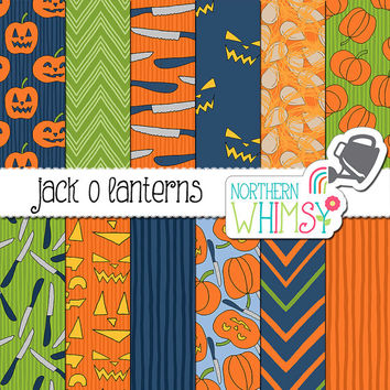 "Halloween Digital Paper - Pumpkin Carving Scrapbook Paper - ""Jack o Lanterns"" - orange, navy, and green - printable paper - commercial use"