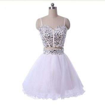 Short Cocktail Gowns Beaded Two Piece White Tulle Ball gown mini short  Dresses