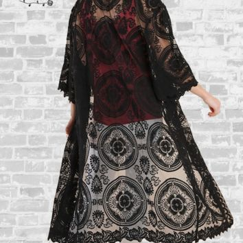 Lace Medallion Duster - Black