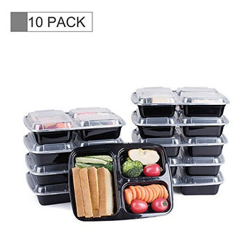 GLOTECH 10 SETS 39 OUNCES HOT FOOD LUNCH CONTAINER WITH LID FOR MEAL PREP AND PORTION CONTROL IN 3 COMPARTMENT BENTO BOX-MICROWAVEABLE, FREEZER & DISHWASHER SAFE
