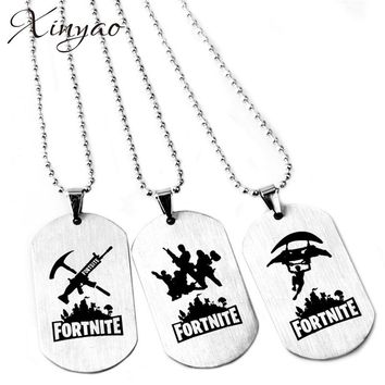 Xinyao Fortnite Battle Weapon Necklace Stainless Steel Square Pendant Necklace Dog Tag Friendship Collier Femme Game Jewelry