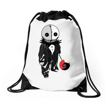 creepy doll trick or treat Drawstring Bags