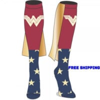 DC Comics Wonder Woman Movie Caped Knee High Socks NEW Licensed