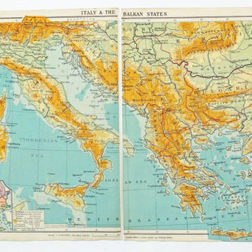 Italy and the Balkans Map, 1924 map of Italy and the Balkans, home decor, interior design