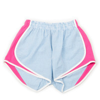 Lauren James Seersucker Striped Shorties- Turquoise/Pink- FINAL SALE