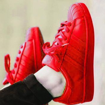 """Adidas"" Shell-toe Sneakers Sport Shoes Pure Color Flats Candy Red"