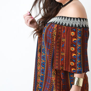 Paisley Print Off-The-Shoulder Quarter Sleeves Peasant Top