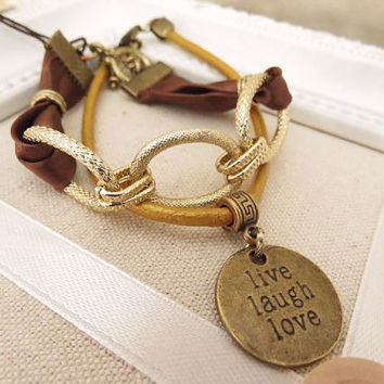 Live Laugh and Love with Chain Bracelet by trinketsforkeeps