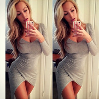 Fashion Women Bandage Bodycon Long Sleeve Evening Sexy Party Cocktail Mini Dress = 5737849665