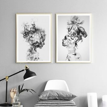 Scandinavian Decorative Canvas Art Print Wall Poster Wall Pictures Painting Wall Art for Bedroom Living Room Home Decor Frame No