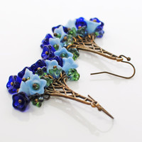 Blues Flower Chandelier Earrings That's Why They Call Them The Blues