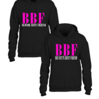 BBF BEST FRIEND BLONDE AND BRUNETTE COUPLE - Couple hoodie