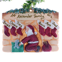 Fireplace for family of 6 - stockings personlized- Christmas ornament - Santa's chimney ornament