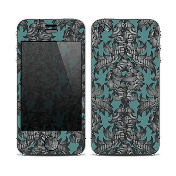 The Teal Leaf Foliage Pattern Skin for the Apple iPhone 4-4s