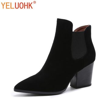 Cow Suede Women Boots Autumn High Quality Ankle Boots For Women Chelsea Boots Black