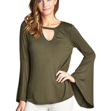 Olive Bell Sleeve Blouse