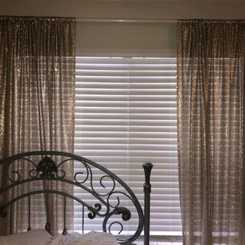 Gold Sequin Window Curtains