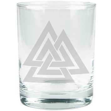 Viking Valknut Odin Symbol Etched Glass Tumbler