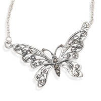 16in Oxidized Marcasite Butterfly Necklace