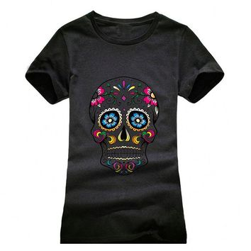 Beautiful Skull Printing T shirt Women Fashion Camisetas T-Shirt Streetwear Cotton girls Summer Style top tees red black grey