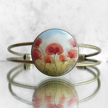 Unique Bracelet, Small Fine Art Painting RED POPPIES Antiqued Brass Cuff Bracelet, Poppy Art Original Miniature Painting Bracelet by Artdora