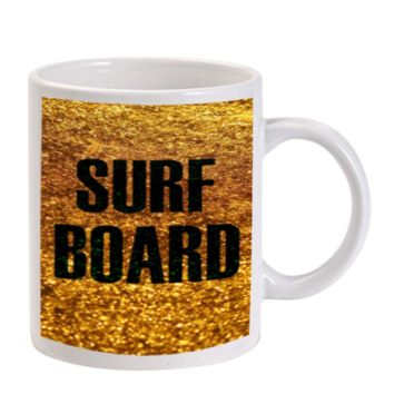 Gift Mugs | Gold Surf Board Beyonce Inspired Ceramic Coffee Mugs