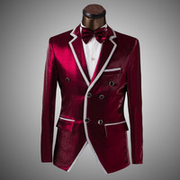 wedding suits for men wine red tuxedo slim fit men suit mens suits wedding groom clothing S M L XL A-445