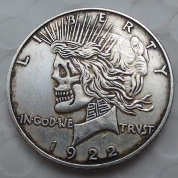 US Head-To-Head Two Face 1922/1922 Peace Dollar skull zombie skeleton hand carved Copy Coins