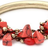 NINE WEST VINTAGE AMERICA Brass Ox and Coral Stretch Beaded Bracelet - Like Love Buy