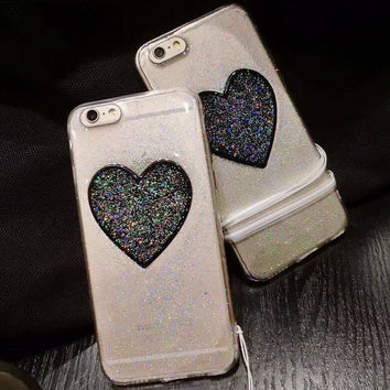 Heart-shaped Twinkle Case for iPhone 7 7Plus & iPhone se 5s 6 6 Plus Best Protection Cover +Gift Box-201