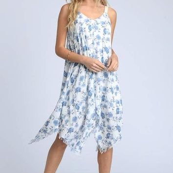 Hanki Frayed Hem Dress- White Blue Floral