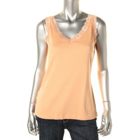 Karen Scott Womens Lace Trim V-Neck Tank Top
