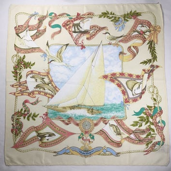 "Vintage Salvatore Ferragamo Nautical Scarf - Salvatore Ferragamo 17"" Nautical Cotton Square Scarf - Made in Italy"