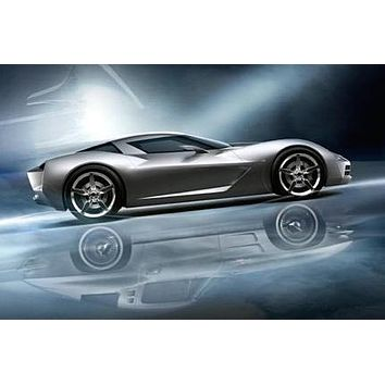 Corvette Stingray Concept poster Metal Sign Wall Art 8in x 12in