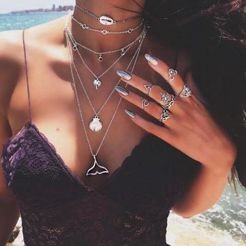 Ethnic Bohemia Style Long Multilayer Necklace Women Shell Clip Tree Fish Tail Charm Vintage Statement Choker Necklace CN002