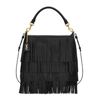 Saint Laurent 'Emmanuelle' Small Leather Fringe Hobo Bag 410565