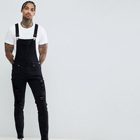 Dr Denim Ira Skinny Ripped Dungaree Jeans in Black at asos.com