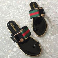 GUCCI Fashionable Ladies Print Sandal Slipper Shoes Black I