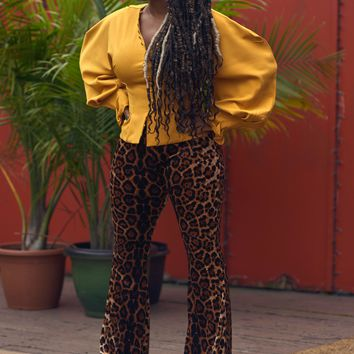 Mustard Puffy Sleeved Blouse