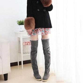 Ladies Fashion Winter boots Women Boots Flat Bottom Boots Shoes Over The Knee Thigh High Suede Long Boots