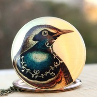 Bird locket  blue scroll brass vintage image locket by AmberSky