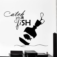 Wall Vinyl Decal Motivation Quote Catch Your Fish Home Interior Decor Unique Gift z4239