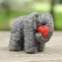 Needle Felted Elephant with Heart
