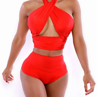 Red Halter Criss Cross Bandage High Waisted Swimsuit