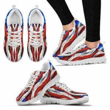 AMERICA FLAG WHITE SNEAKERS Women's Tennis Shoes