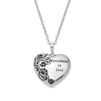 Sterling Silver Remembered In Love Pet Ash Holder Necklace, 18 Inch