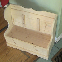 unfinished pine wooden toy chest. Deacon's bench for children. Can be finished in a stain or wood of your choice.