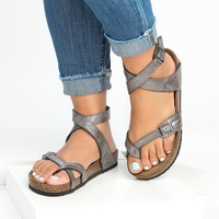Lace Up Pewter Footbed Sandals