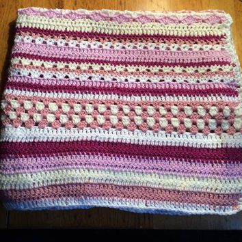 Newborn  crochet blanket , baby shower blanket, soft and snuggly, pink , purple and white shades and various stitches 120 x 70cm