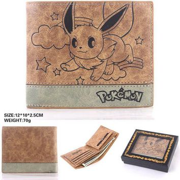 Japan anime Pocket Monster  EEVEE cosplay wallet men women short purse leather pu coin bagKawaii Pokemon go  AT_89_9